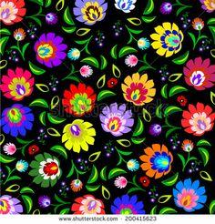 Traditional Polish, Slavic folk floral pattern vector by Wiktoria Pawlak