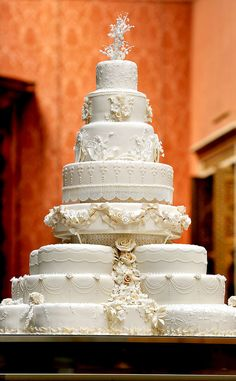 Prince George Christening, Royal Wedding, Cake.  Top tier is saved for the christening of the first child.