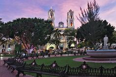 Cathedral of San Gervasio – Valladolid, Mexico • Hubby left me here at the park as he scoped the area to find a hotel • Those were the days when we used to rough it =.)