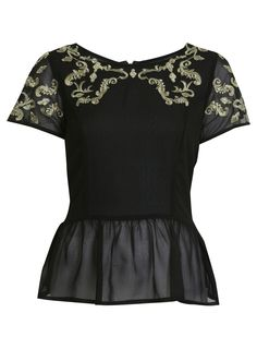 Baroque Peplum Top        Price: $68.00      Color: BLACK      Item code: 15B24KBLK