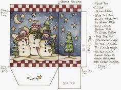 Navidad: Cajas con Muñecos de Nieve para Imprimir Gratis.