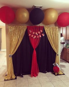 Red carpet theme party · black gold party · talent show gold party decorations, prom decor, birthday party decorations, prom backdrops, Red Party Decorations, Prom Decor, Graduation Decorations, Backdrop Decorations, Party Themes, Hollywood Party Decorations, Ideas Party, Party Kulissen, Red Birthday Party