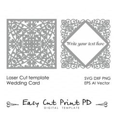 Lace Wedding invitation Card Template folds (svg, dxf, dwg, ai, eps, png, pdf) laser die cut Pattern Instant Download Silhouette Cameo
