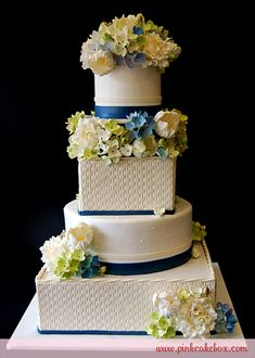Basketweave Tulip and Hydrangea Wedding Cake by Pink Cake Box