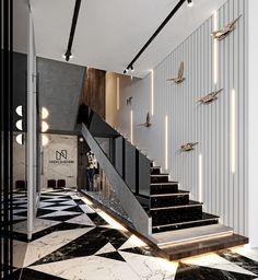 Corridor Design, Home Stairs Design, Interior Stairs, Modern House Design, Home Interior Design, Luxury Staircase, Cladding Design, Villa, Luxury Homes Dream Houses