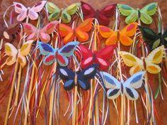 Magic Butterfly play wand, wool felt, wool stuffed CUSTOM COLOURS on Etsy, $17.18 CAD