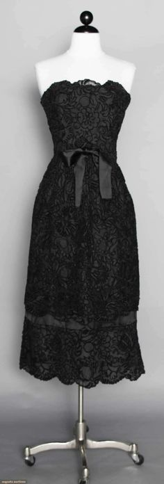 1950's Lord & Taylor Lace Strapless Dress