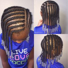 Natural hairstyle for girls Cornrows + beads Natural hair