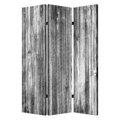 "Screen Gems 72"" X 48"" Distressed Wood Canvas 3 Panel Room Divider"