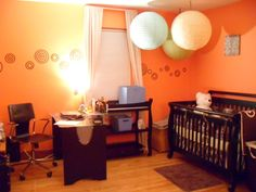 Interested in this due to the orientation of the desk and the crib. Nursery Office Combo, Shared Office, December 2014, Photo Library, Hgtv, Nursery Ideas, Home Projects, Offices, Cribs