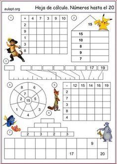Desde hace algún tiempo vengo compartiéndoos los modelos que voy preparando, semanalmente, para trabajar y reforzar la numeración y el cálculo inicial suma y resta. Montessori Math, Preschool Learning Activities, Preschool Math, Math Classroom, Teaching Math, Kids Learning, Kids Math Worksheets, Maths Puzzles, Math Resources