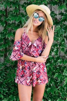 """The """"Botanical playsuit - Maroon print"""" is fresh and fabulous!Featuring a stunning print, frill details, elastic waist and cutout sleeves. Style it with a wide brimmed hat and a fruity cocktail on a hot summers night!Size 8, Length:76cm/30inches Width:30cm/12inchesPolyester Cold Hand Wash Only Model wears a size 8 Model's height 178cm  Prints may vary Imported A slight variation may occur in colours and size specifications. Colours may appear slightly different via website due to…"""