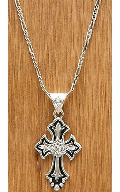 Montana Silversmiths® Silver and Black with Clear Crystal Cross Necklace | Cavender's Boot City