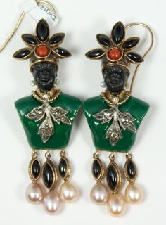 Pair of Russian enameled 14k yellow gold Blackamoore earrings depicting a bust. Jeweled throughout with black onyx, red coral, diamonds and pearls.
