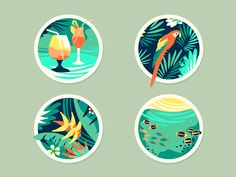 Tropical [Icons] by szende brassai, via Behance #colors #illustrations #icons