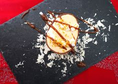 Dulce de leche mousse served on chocolate easter egg drizzled with chocolate topping!