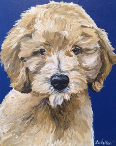 Doodle Dog Art, Golden-Doodle, Fun Golden Doodle Art Throw Pillow by Lee H Keller Art - Cover x with pillow insert - I Doodle Canvas, Doodle Dog, Canvas Art, Goldendoodle Art, Goldendoodles, Dog Portraits, Animal Paintings, Dog Art, Lion Sculpture