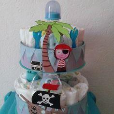 """Gâteau de couches """"p'tit pirate"""" pour garçon"""
