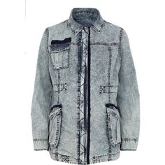 River Island Light Acid Wash Army Jacket ($80) ❤ liked on Polyvore
