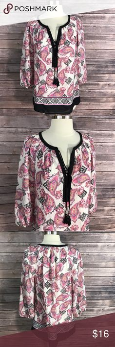 Black Rainn Top Small Peasant Paisley Black Pink Measurements: (in inches) - Underarm to underarm: 19 - Length: 26  Good, gently used condition Black Rainn Tops Blouses