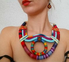 Tribal Necklace  Multicolored African Jewelry by UtopiaManufactory