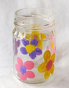 Fingerprint Flower Vase!  {capture the kiddo's fingerprints forever with this fun Mason Jar gift ~ great for Mother's Day or Grandparent's Day!} #masonjars #vases