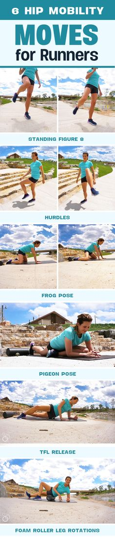 6 Hip Mobility Moves for Runners video demonstration - loosen tight hips, improve range of motion and reduce injures #running