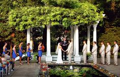 Outdoor wedding ceremony in the stunning courtyard with lily pool of the 'Ceresville Mansion' in Frederick, Maryland. Music performed by Ben Sherman Classical Guitar.