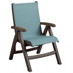 Grosfillex Belize Bronze Mist Midback Folding Resin Outdoor Sling Chair with Spa Blue Seat -