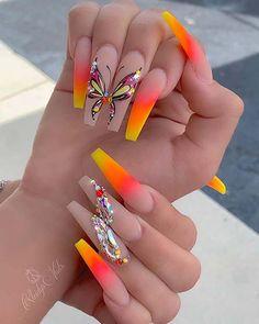 Bright Summer Acrylic Nails, Bling Acrylic Nails, Best Acrylic Nails, Bling Nails, Summer Nails, Butterfly Nail Designs, Butterfly Nail Art, Cute Acrylic Nail Designs, Glow Nails