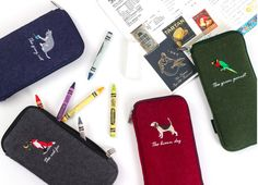 Animal Felt Pencil Case / embroidered Pencase / Pouch / 101449136 by DubuDumo on Etsy