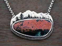 Poppy Fields Mountain Landscape Necklace - Ocean Jasper and Sterling Silver - One of a Kind