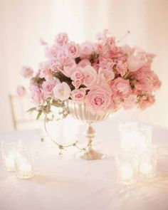 Gathering Floral - Elisabeth Millay Photographer Compote Style Flower arrangement with Pink flowers - pink roses and tulips