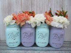 Reception Decoration Ideas | Painted Ball Mason Jars / utensil-holders