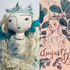 🍃I have fallen in love with the work of so many artists. The ever so lovely is one of those artists. Her art incorporates… Dolly Mixture, Fabric Dolls, Rag Dolls, Monster High Dolls, Doll Maker, Soft Dolls, Cute Characters, Softies, Doll Toys