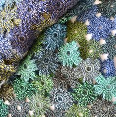 Ravelry: Flos Hortus pattern by Fiona Oliver Crochet Flower Scarf, Crochet Shawl, Crochet Flowers, Knit Crochet, Crochet Afghans, Crochet Blocks, Crochet Squares, Crochet Patterns, Crochet Ideas