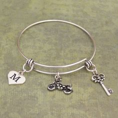 Custom Initial Motorcycle Memory Wire Bracelet, $9.98 //  Cute gift idea for that lady biker in your life!!!