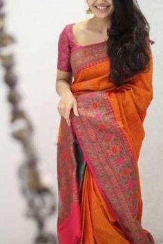 Discover thousands of images about Pretty Orange Colored Soft Silk Party Wear Saree Pattu Saree Blouse Designs, Half Saree Designs, Saree Blouse Patterns, Blouse For Silk Saree, Satin Saree, Chiffon Saree, Saris, Silk Saree Kanchipuram, Handloom Saree