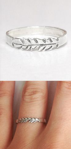 Silver Feather Stackable Ring