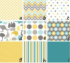aqua, yellow, gray  Like these for accents~d