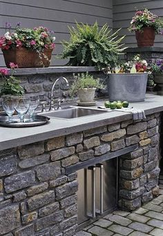 Outdoor Sink  Adding a sink outside near the grill will make outdoor dinner preparation easier and more efficient. You'll save time and energy by not running back and forth between the house, and if you're hosting a party, the sink will come in handy when mixing drinks.