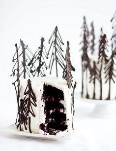 Blackforest Cake <3   Love the trees!