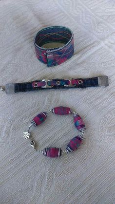 Fused plastic bags and old jeans bracelets