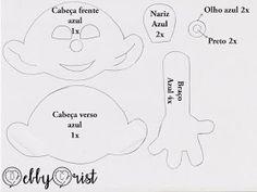 Eu Amo Artesanato: Boneco Smurfs em Feltro com molde