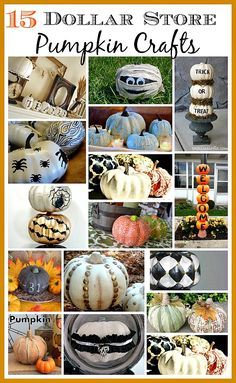 Makeover inexpensive dollar store pumpkins for your fall decor. Here are 15 great ideas to get you inspired! 15 Dollar Store, Halloween Diy, Halloween Projects, Halloween Pumpkins, Holidays Halloween, Halloween Decorations, Halloween Stuff, Pumpkin Ideas, Pumpkin Crafts