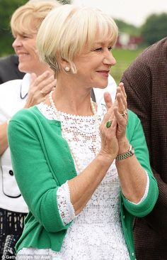 Helen Mirren shows that bright, cheerful colours look great on women of all ages.  I am 43 and, before seeing this photo, thought I was too old to pull off a white lace dress.  However Dame Helen has changed my mind.  (I am also in love with the green ring on her finger, I would love a close up shot of it.  It looks like jade.)