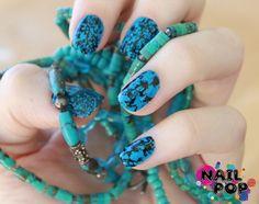 Black And Turquoise Creative Nail Art - Turquoise Nail Tutorial #nails #NailArt #NailDesigns