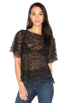 7 For All Mankind Short Sleeve Lace Top in Black