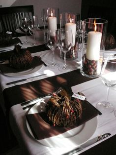 Natural, Fall Tablescape: The chocoloate brown color is gorgeous! http://www.hgtv.com/decorating-basics/our-favorite-fall-decorations/pictures/page-31.html?soc=pinterest