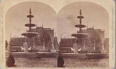 1876 STEREOVIEW CENTENNIAL EXPOSITION HORTICULTURE HALL & FOUNTAIN